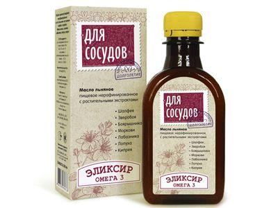 Масло льняное с растительными экстрактами «Для сосудов» 200 мл (Компас здоровья)