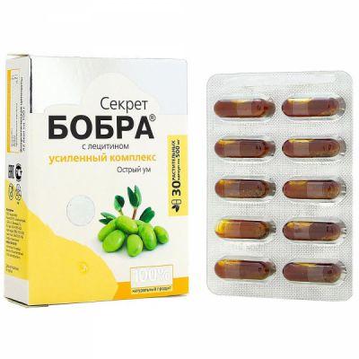 Капсулы секрет Бобра с Лецитином (острый ум) 30 шт «Сашера мед»