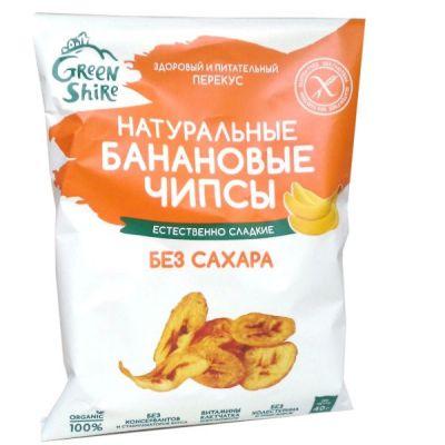 Банановые Чипсы Натуральные (без сахара) 40г «ГринШир Групп»