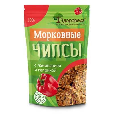 Морковные Чипсы (Ламинария+Паприка) 100г «Здороведа»