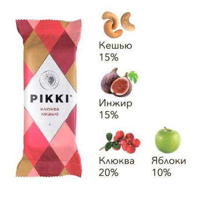 Орехово-Фруктовый Батончик (Клюква+Кешью) 35г «PIKKI»