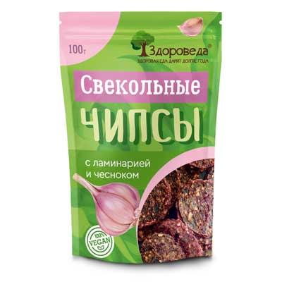 Свекольные Чипсы (Ламинария+Чеснок) 100г «Здороведа»