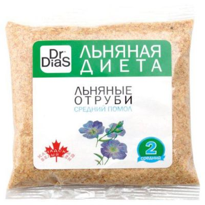 Отруби ЛЬНЯНЫЕ Средний помол 100 гр «Dr.DiaS» (Канадский лён)