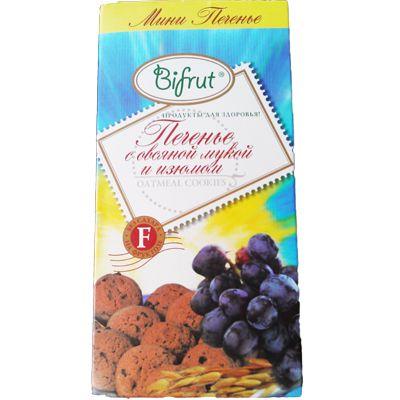 Печенье Овсяное с Изюмом 270 гр «BIFRUT» на фруктозе