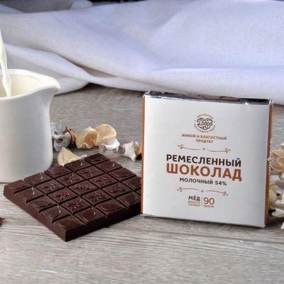 Шоколад молочный, какао 54%, на Меду, (Классический) «Мастерская шоколада ДОБРО»