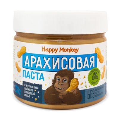 Арахисовая паста «с кусочками арахиса и морской солью» 330 гр Happy Monkey
