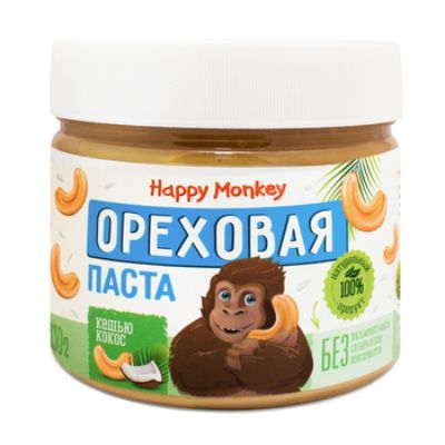 Ореховая паста «Кешью с Кокосом» 330 гр Happy Monkey