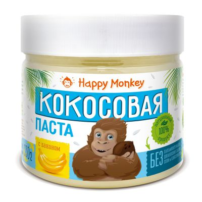 Кокосовая паста с Бананом 330 гр Happy Monkey