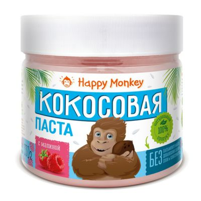 Кокосовая паста с Малиной 330 гр Happy Monkey