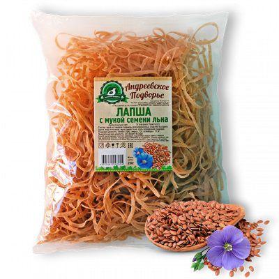 ЛАПША с мукой семени Льна 250 гр «Андреевское Подворье»