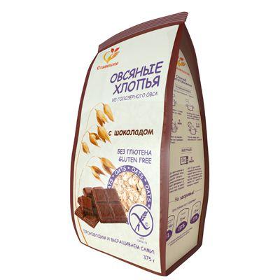 Овсяные Хлопья с Шоколадом из голозёрного овса без глютена 375 гр «Сташевское»